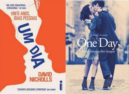 Um dia - Capa original e versão após adaptação para o cinema